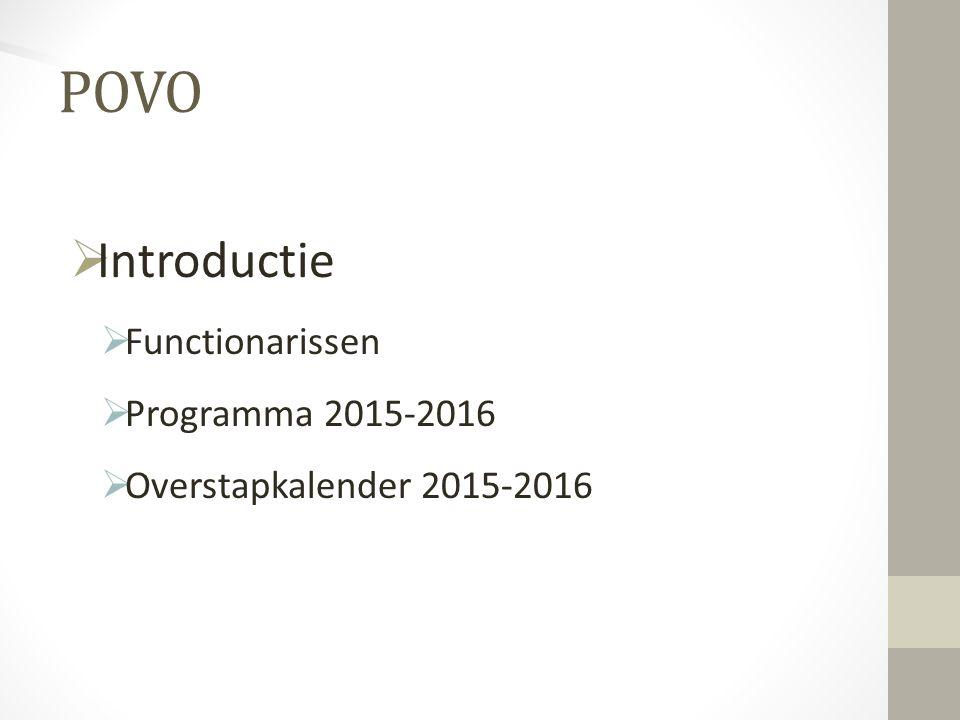  Introductie  Functionarissen  Programma 2015-2016  Overstapkalender 2015-2016