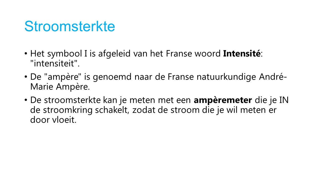 Stroomsterkte Het symbool I is afgeleid van het Franse woord Intensité: