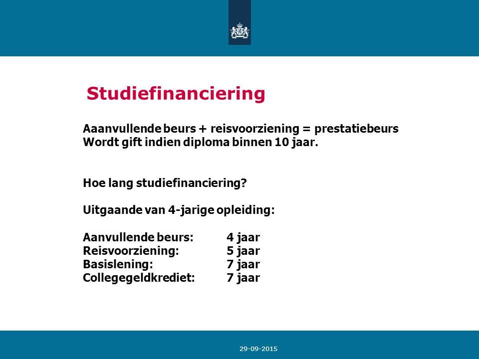 29-09-2015 Studiefinanciering Aaanvullende beurs + reisvoorziening = prestatiebeurs Wordt gift indien diploma binnen 10 jaar. Hoe lang studiefinancier