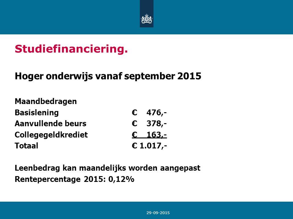 29-09-2015 Studiefinanciering. Hoger onderwijs vanaf september 2015 Maandbedragen Basislening € 476,- Aanvullende beurs € 378,- Collegegeldkrediet € 1