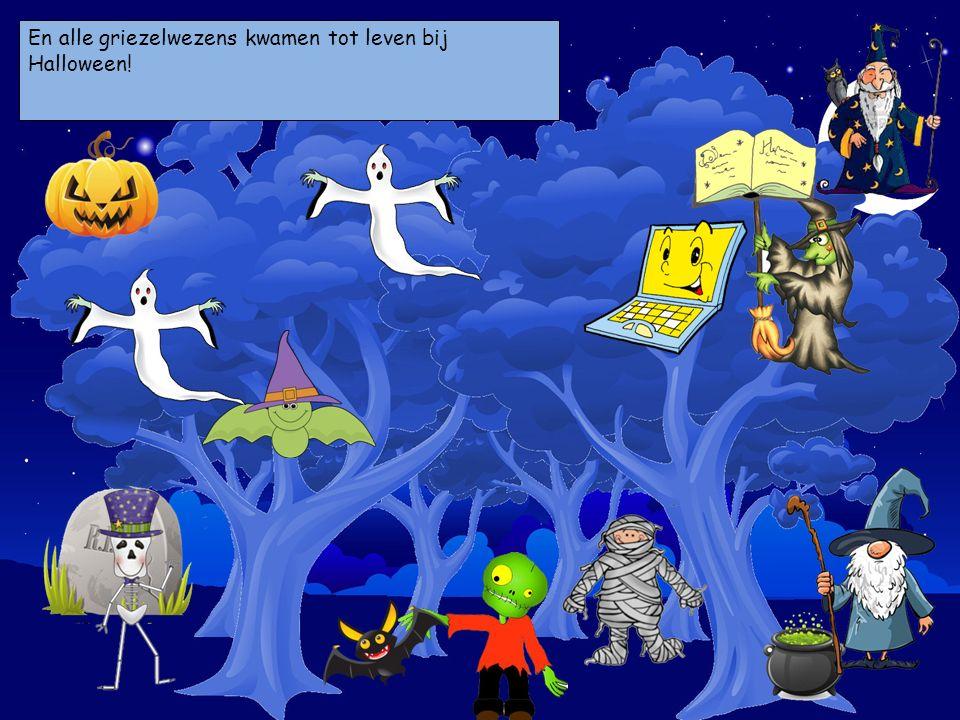 En alle griezelwezens kwamen tot leven bij Halloween! Kies je personages en sleep ze op de prent.