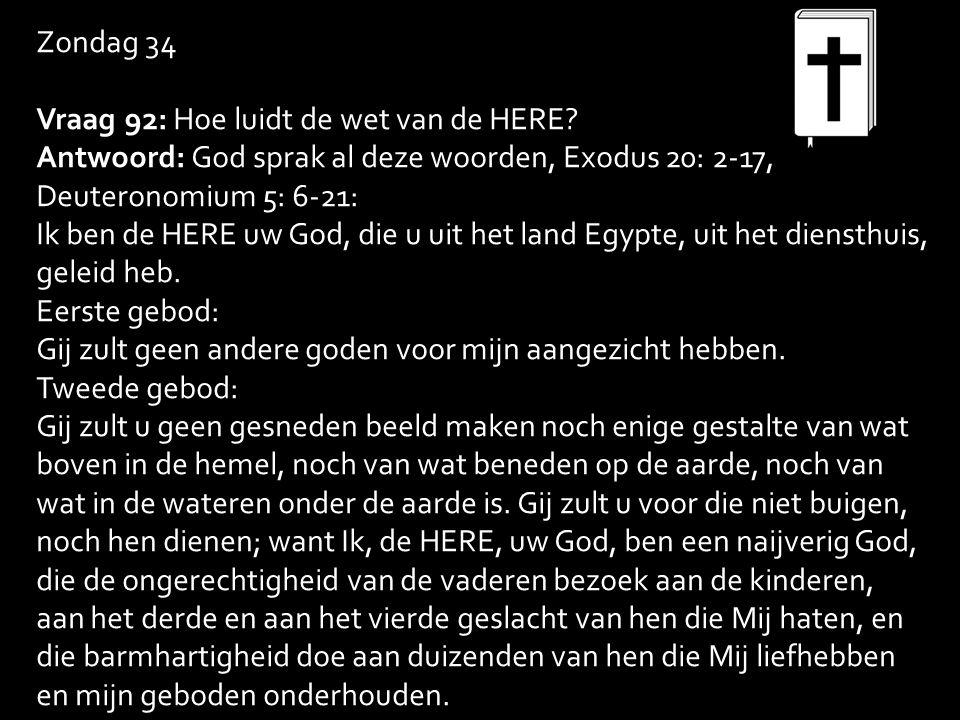 Zondag 34 Vraag 92: Hoe luidt de wet van de HERE.