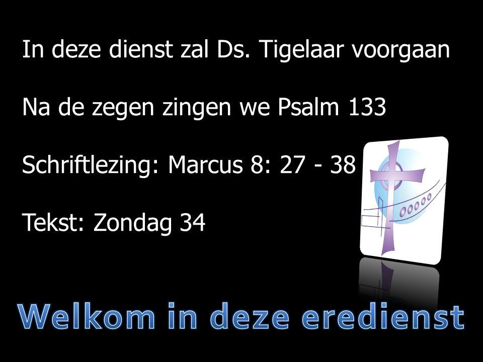 Mededelingen  Mededelingen  Moment van stilte  Votum/zegengroet  Psalm 133  Gebed  Marcus 8: 27 - 38  Zondag 34  Gezang 62  Preek  Psalm 135: 8, 9, 10  Belijdenis  Psalm 135: 11, 12  Gebed  Collecte  Gezang 165  Zegen