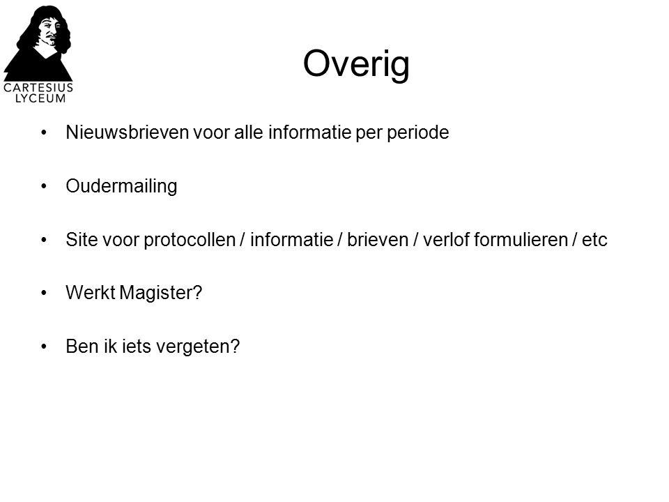 Overig Nieuwsbrieven voor alle informatie per periode Oudermailing Site voor protocollen / informatie / brieven / verlof formulieren / etc Werkt Magis