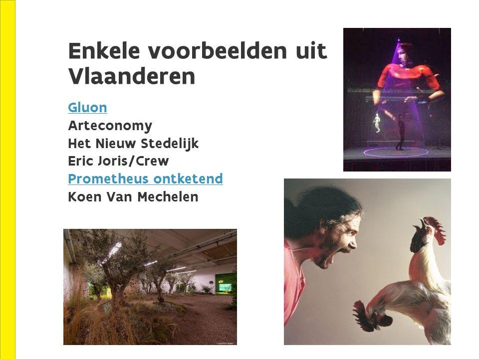 Enkele voorbeelden uit Vlaanderen Gluon Arteconomy Het Nieuw Stedelijk Eric Joris/Crew Prometheus ontketend Koen Van Mechelen