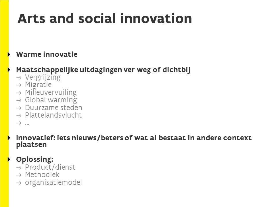 Arts and social innovation Warme innovatie Maatschappelijke uitdagingen ver weg of dichtbij Vergrijzing Migratie Milieuvervuiling Global warming Duurzame steden Plattelandsvlucht … Innovatief: iets nieuws/beters of wat al bestaat in andere context plaatsen Oplossing: Product/dienst Methodiek organisatiemodel