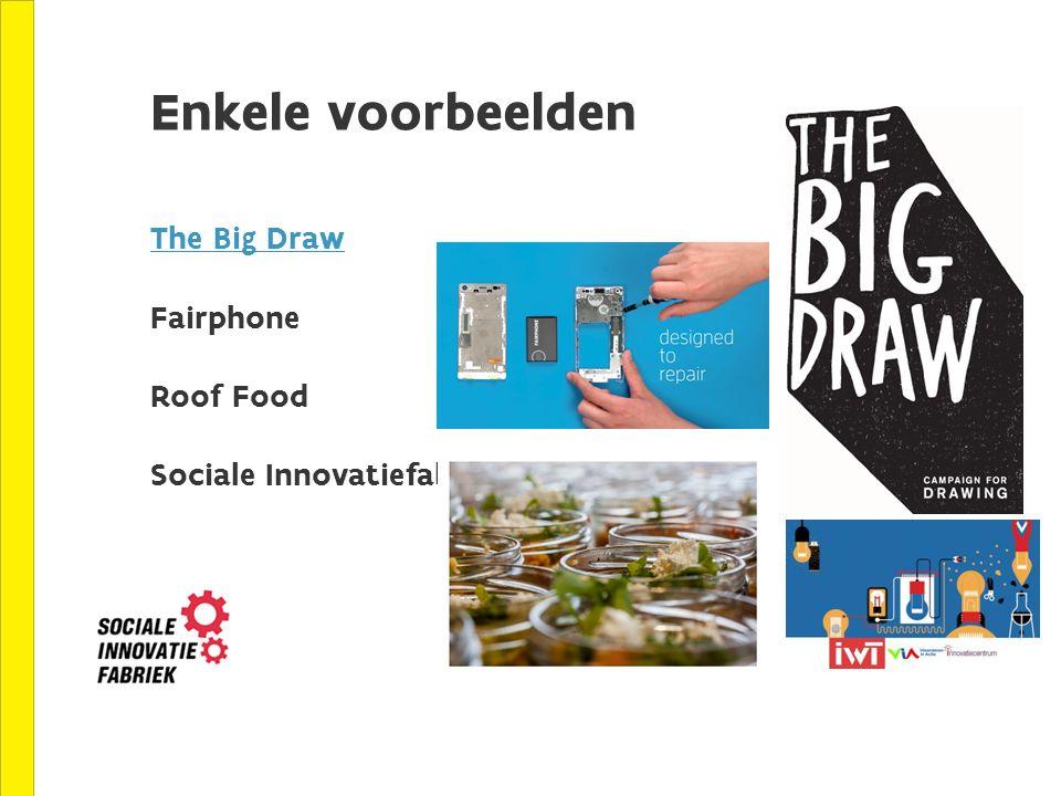 Enkele voorbeelden The Big Draw Fairphone Roof Food Sociale Innovatiefabriek