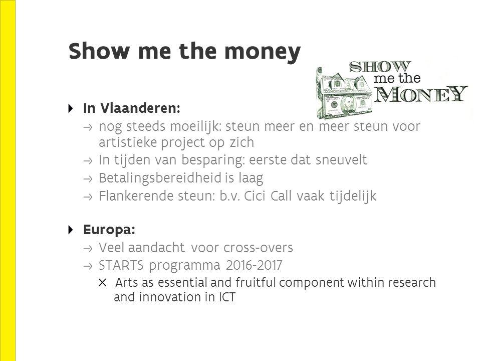 Show me the money In Vlaanderen: nog steeds moeilijk: steun meer en meer steun voor artistieke project op zich In tijden van besparing: eerste dat sneuvelt Betalingsbereidheid is laag Flankerende steun: b.v.