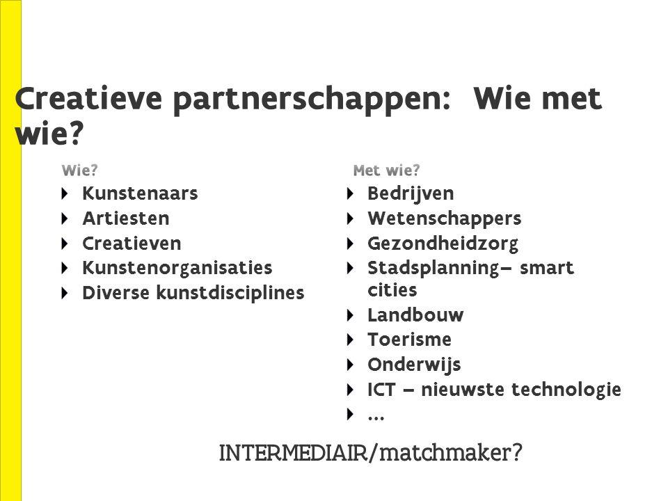 Creatieve partnerschappen: Wie met wie.