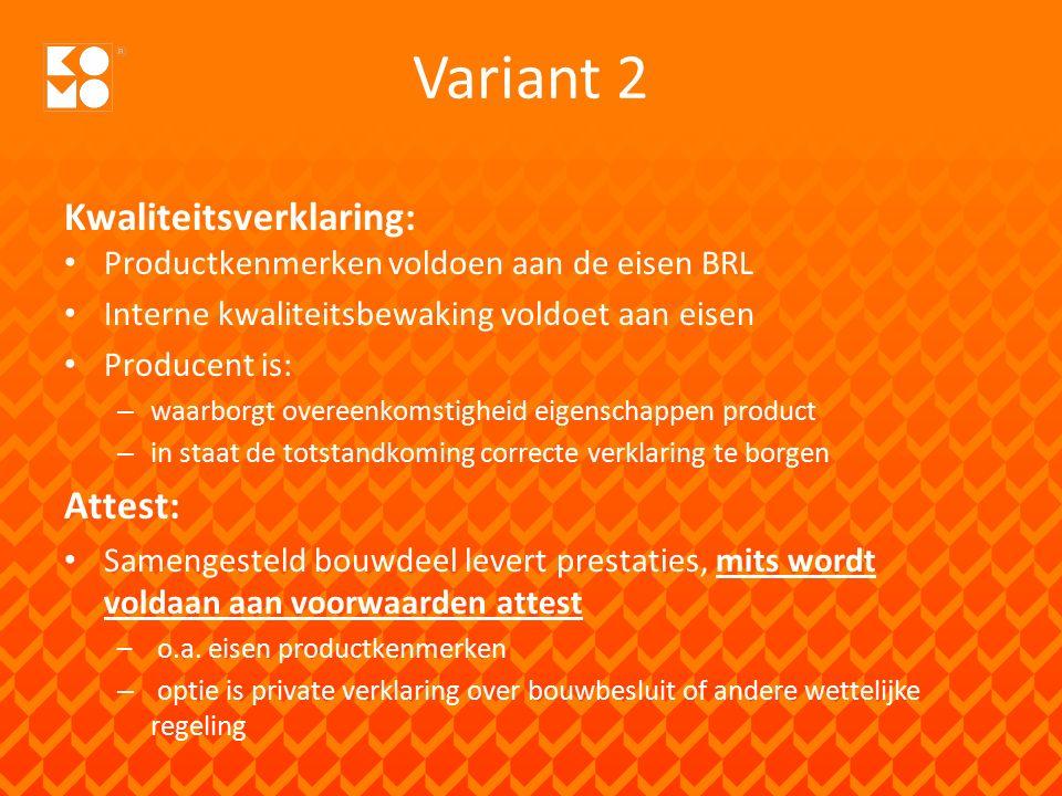 Welke variant? De markt ( CvD) bepaalt!