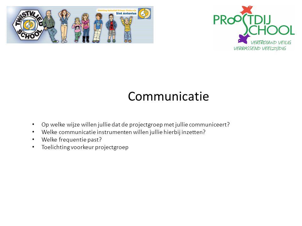 Communicatie Op welke wijze willen jullie dat de projectgroep met jullie communiceert.