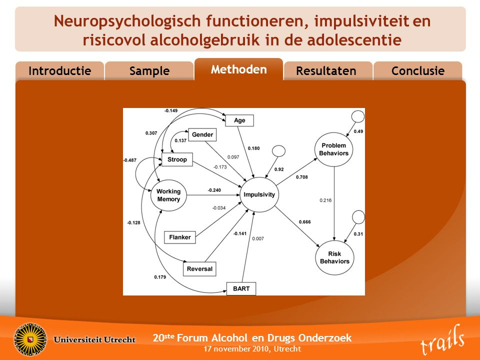 Neuropsychologisch functioneren, impulsiviteit en risicovol alcoholgebruik in de adolescentie 20 ste Forum Alcohol en Drugs Onderzoek 17 november 2010, Utrecht MethodsResultatenConclusie Methoden Sample Introductie