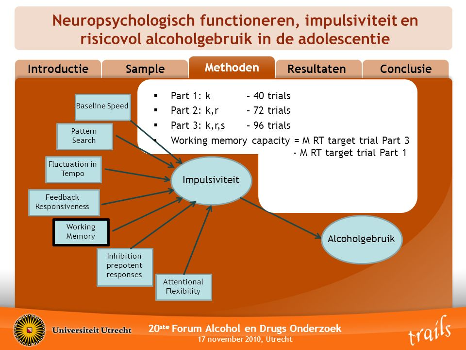 Neuropsychologisch functioneren, impulsiviteit en risicovol alcoholgebruik in de adolescentie 20 ste Forum Alcohol en Drugs Onderzoek 17 november 2010, Utrecht MethodsResultatenConclusie Methoden Sample Introductie Impulsiviteit Attentional Flexibility Inhibition prepotent responses Working Memory Feedback Responsiveness Fluctuation in Tempo Alcoholgebruik Baseline Speed Pattern Search  Part 1: k– 40 trials  Part 2: k,r – 72 trials  Part 3: k,r,s – 96 trials Working memory capacity = M RT target trial Part 3 - M RT target trial Part 1