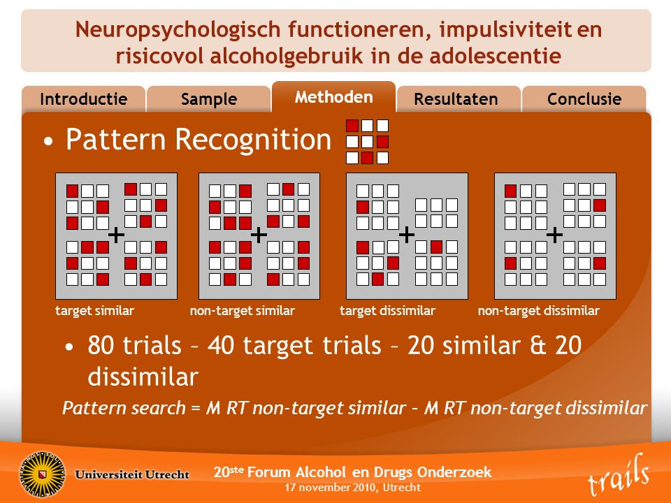 Neuropsychologisch functioneren, impulsiviteit en risicovol alcoholgebruik in de adolescentie 20 ste Forum Alcohol en Drugs Onderzoek 17 november 2010, Utrecht MethodsResultatenConclusie Methoden Sample Introductie Pattern Recognition target similar non-target similar target dissimilar non-target dissimilar 80 trials – 40 target trials – 20 similar & 20 dissimilar Pattern search = M RT non-target similar – M RT non-target dissimilar