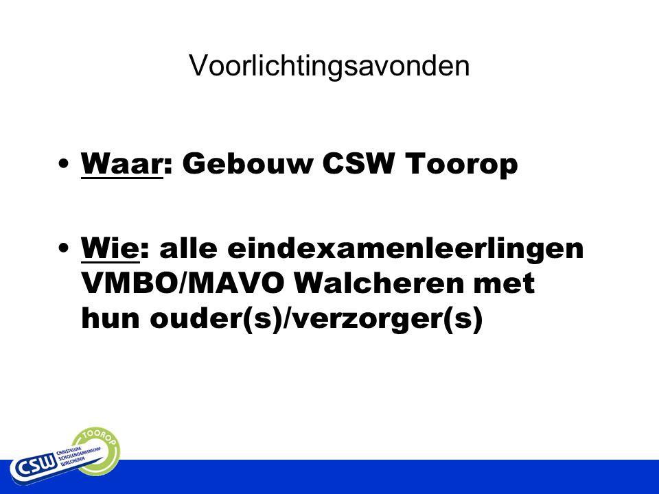 Voorlichtingsavonden Waar: Gebouw CSW Toorop Wie: alle eindexamenleerlingen VMBO/MAVO Walcheren met hun ouder(s)/verzorger(s)