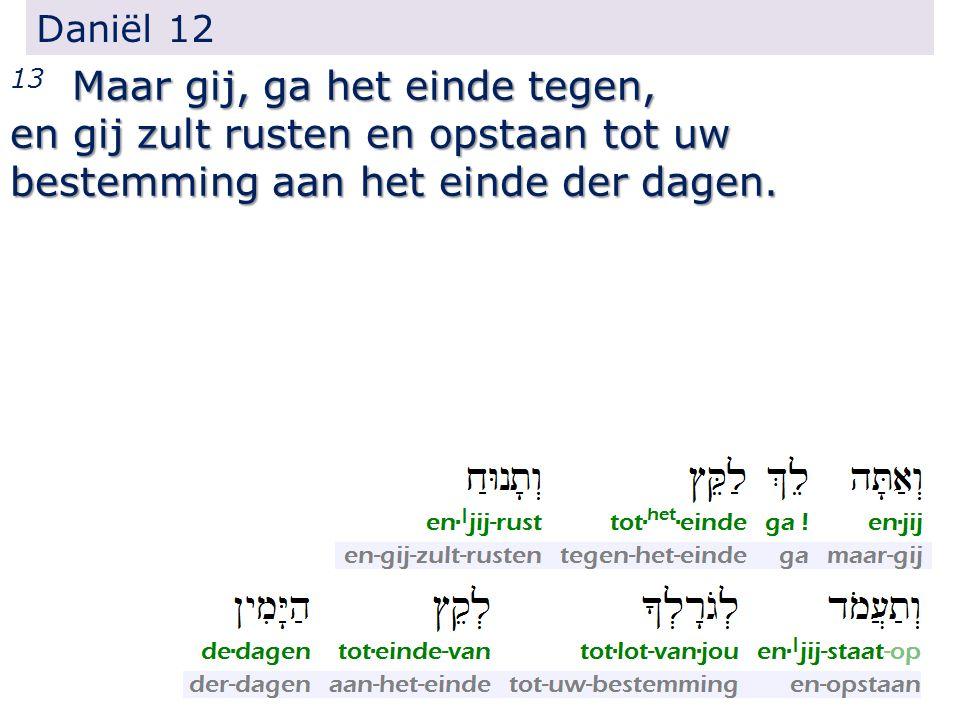 Daniël 12 Maar gij, ga het einde tegen, 13 Maar gij, ga het einde tegen, en gij zult rusten en opstaan tot uw bestemming aan het einde der dagen.