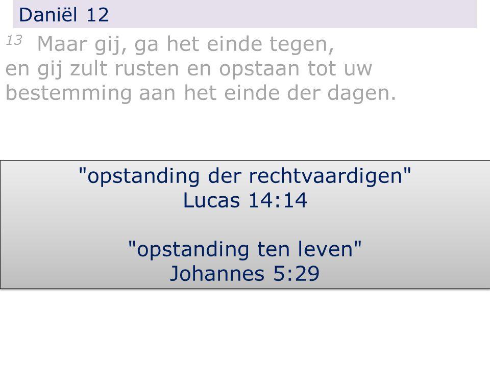 Daniël 12 13 Maar gij, ga het einde tegen, en gij zult rusten en opstaan tot uw bestemming aan het einde der dagen.