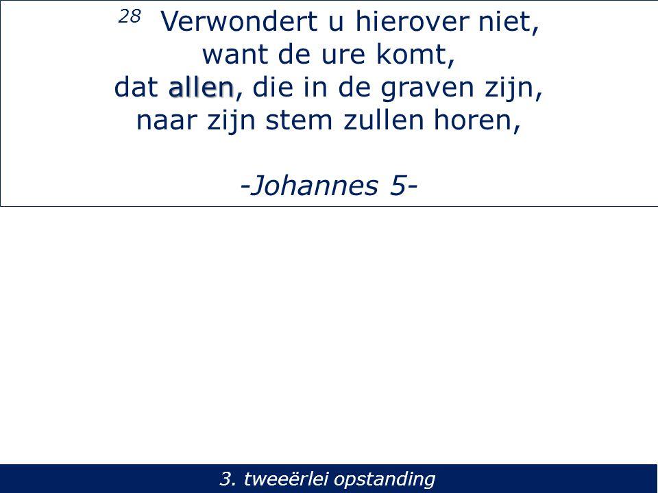 28 Verwondert u hierover niet, want de ure komt, allen dat allen, die in de graven zijn, naar zijn stem zullen horen, -Johannes 5- 3. tweeërlei opstan