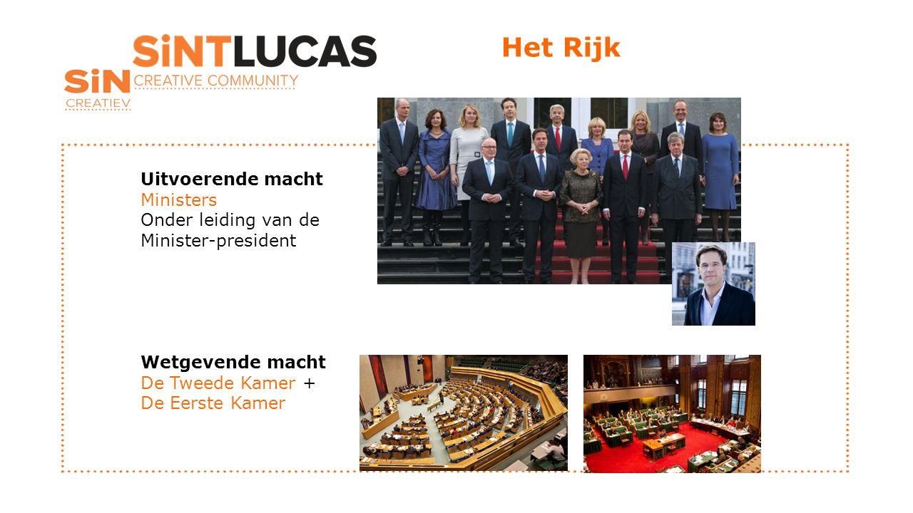 Het Rijk Uitvoerende macht Ministers Onder leiding van de Minister-president Wetgevende macht De Tweede Kamer + De Eerste Kamer