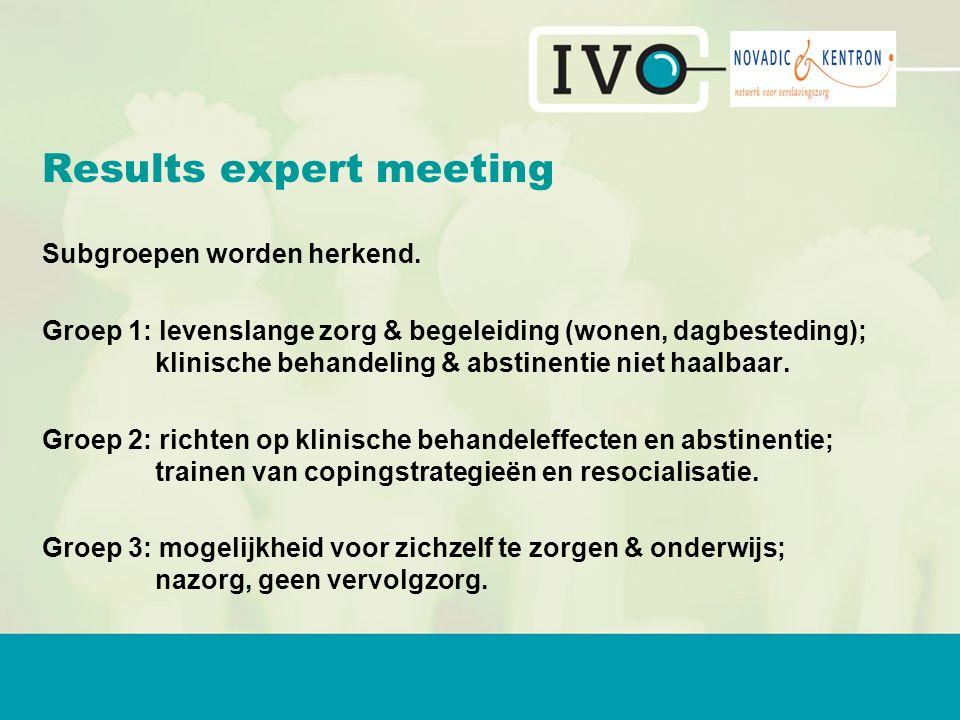 Results expert meeting Subgroepen worden herkend.