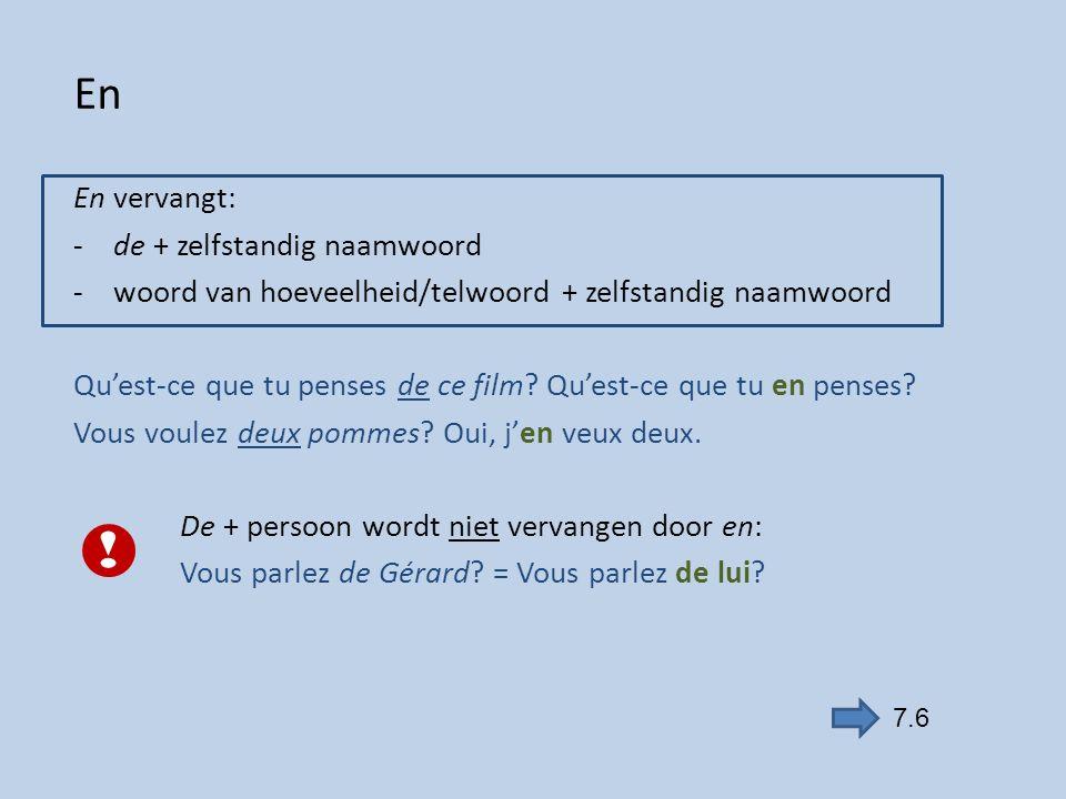 Y Y vervangt alle andere voorzetsels dan de + zelfstandig naamwoord, zoals à, dans, sur Elle va à l'école.