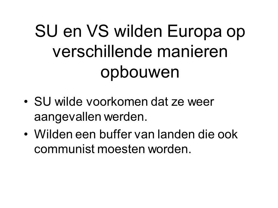 Verschillende idealen VS (westblok) Kapitalisme Democratie Vrijheid Vrijemarkteconomie NAVO SU (oostblok) Communisme Dictatuur Gelijkheid Planeconomie Warschaupact Controle door de staat