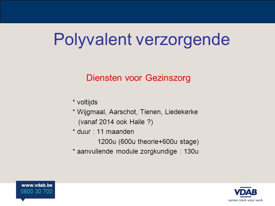 www.vdab.be 0800 30 700 Modulaire opleiding Polyvalent verzorgende/zorgkundige * Centra Volwassenen Onderwijs * voltijds/deeltijds modulair * start : februari/september * duur : 1,5 jaar (VT) of 2 jaar (DT) * Wolvertem, Tienen.