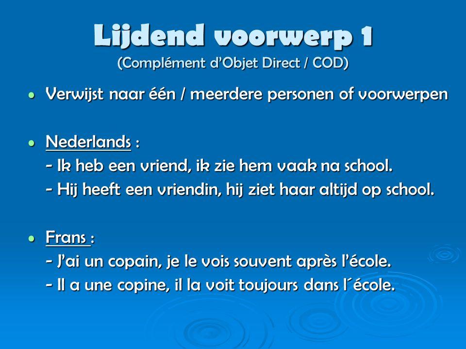 Lijdend voorwerp 2 (Complément d'Objet Direct / COD) Vormen : Vormen : Me / Mij = Je / Jou = Hem = Haar = Ons = Jullie / U = Ze / Hen =
