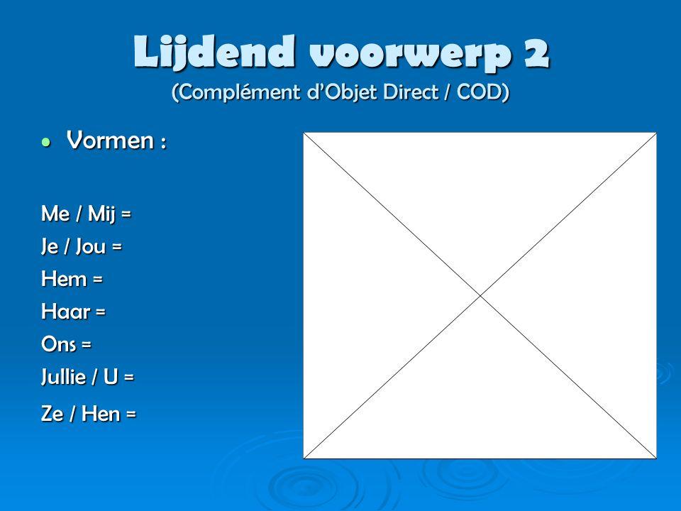 Lijdend voorwerp 3 (Complément d'Objet Direct / COD) Plaats in de zin : Plaats in de zin : 1) Hoofdregel = voor de persoonsvorm 2) Infinitief.