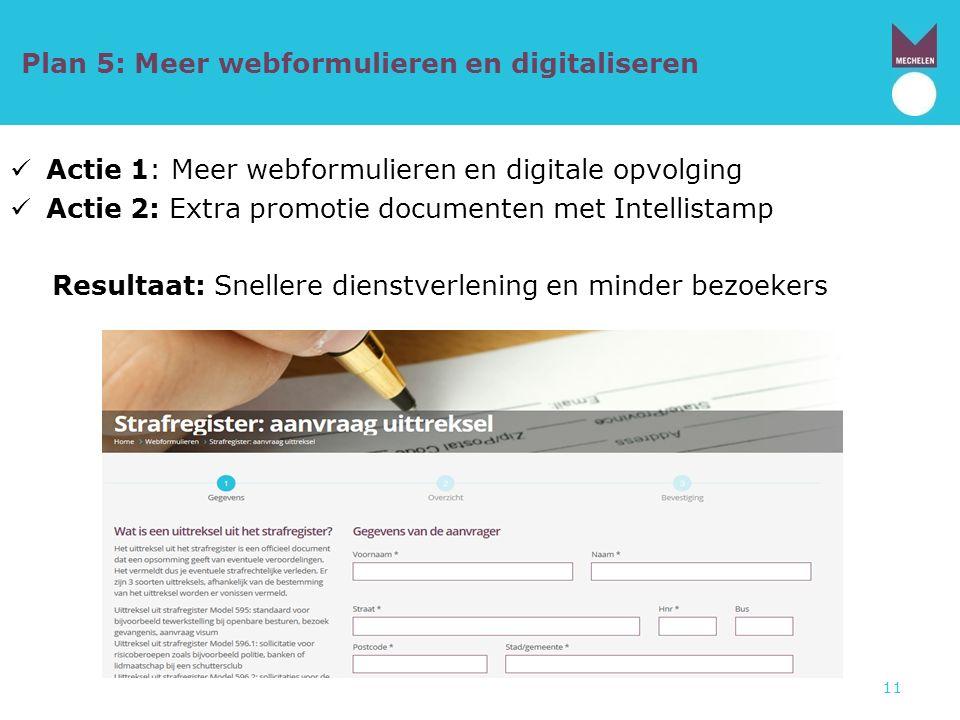 Plan 5: Meer webformulieren en digitaliseren Actie 1: Meer webformulieren en digitale opvolging Actie 2: Extra promotie documenten met Intellistamp Re