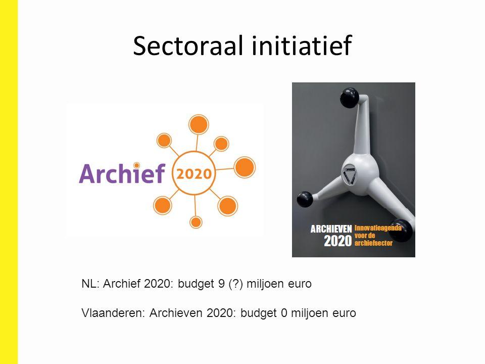 Sectoraal initiatief NL: Archief 2020: budget 9 (?) miljoen euro Vlaanderen: Archieven 2020: budget 0 miljoen euro