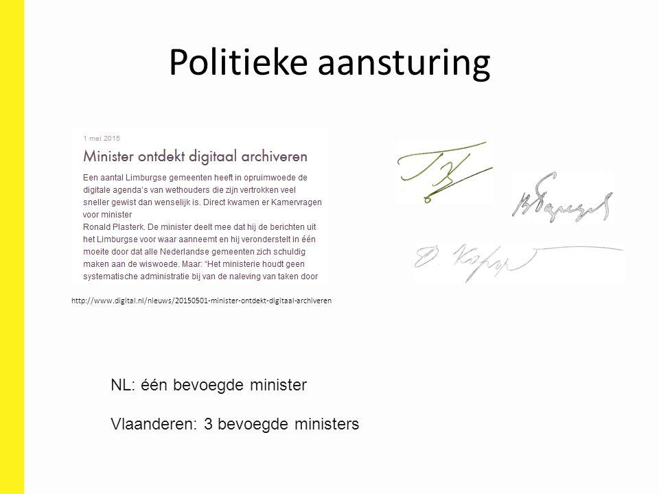 Politieke aansturing http://www.digital.nl/nieuws/20150501-minister-ontdekt-digitaal-archiveren NL: één bevoegde minister Vlaanderen: 3 bevoegde ministers