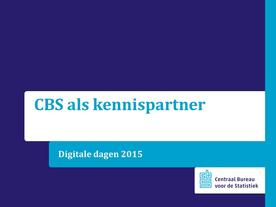 CBS als kennispartner Digitale dagen 2015
