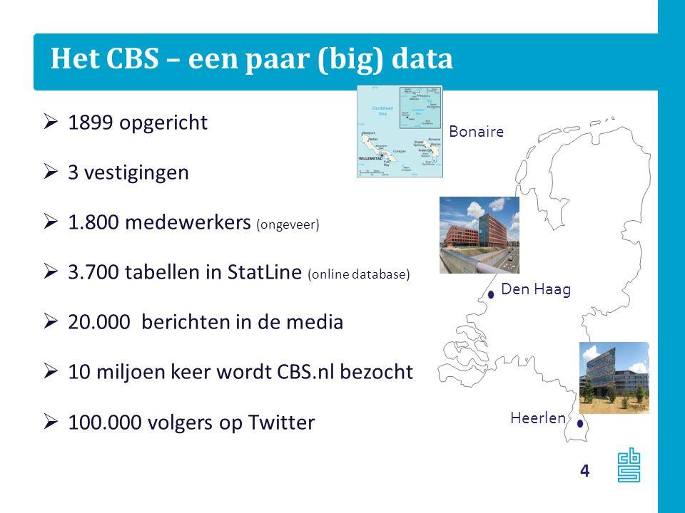 Het CBS – een paar (big) data  1899 opgericht  3 vestigingen  1.800 medewerkers (ongeveer)  3.700 tabellen in StatLine (online database)  20.000 berichten in de media  10 miljoen keer wordt CBS.nl bezocht  100.000 volgers op Twitter Heerlen Den Haag Bonaire 4
