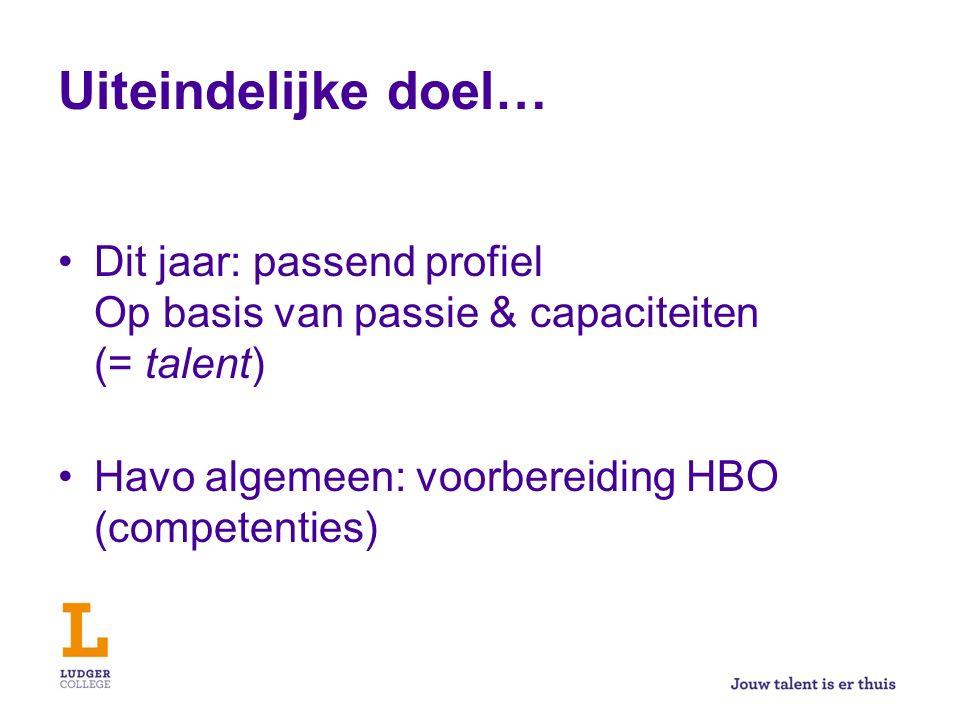 Uiteindelijke doel… Dit jaar: passend profiel Op basis van passie & capaciteiten (= talent) Havo algemeen: voorbereiding HBO (competenties)