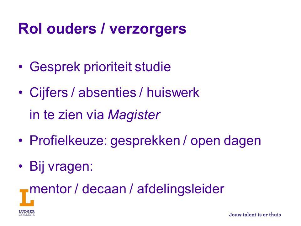 Rol ouders / verzorgers Gesprek prioriteit studie Cijfers / absenties / huiswerk in te zien via Magister Profielkeuze: gesprekken / open dagen Bij vra