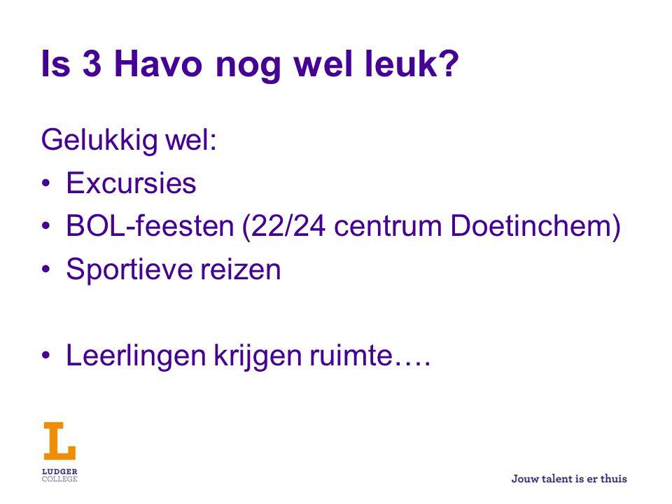 Is 3 Havo nog wel leuk? Gelukkig wel: Excursies BOL-feesten (22/24 centrum Doetinchem) Sportieve reizen Leerlingen krijgen ruimte….