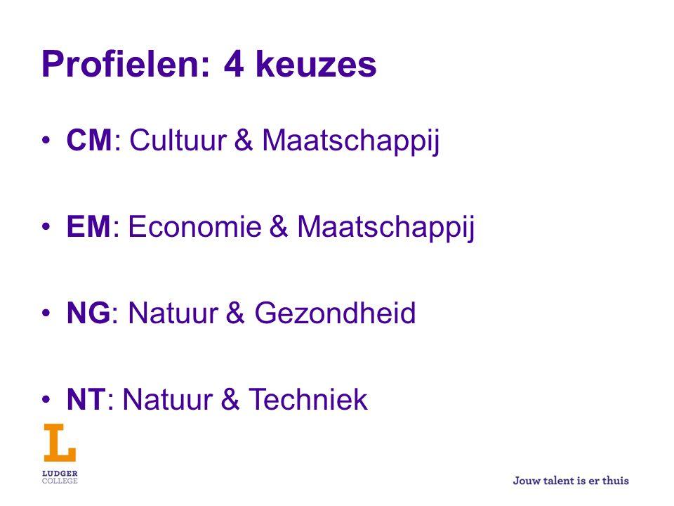Profielen: 4 keuzes CM: Cultuur & Maatschappij EM: Economie & Maatschappij NG: Natuur & Gezondheid NT: Natuur & Techniek