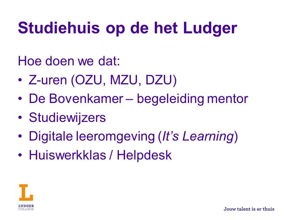 Studiehuis op de het Ludger Hoe doen we dat: Z-uren (OZU, MZU, DZU) De Bovenkamer – begeleiding mentor Studiewijzers Digitale leeromgeving (It's Learn