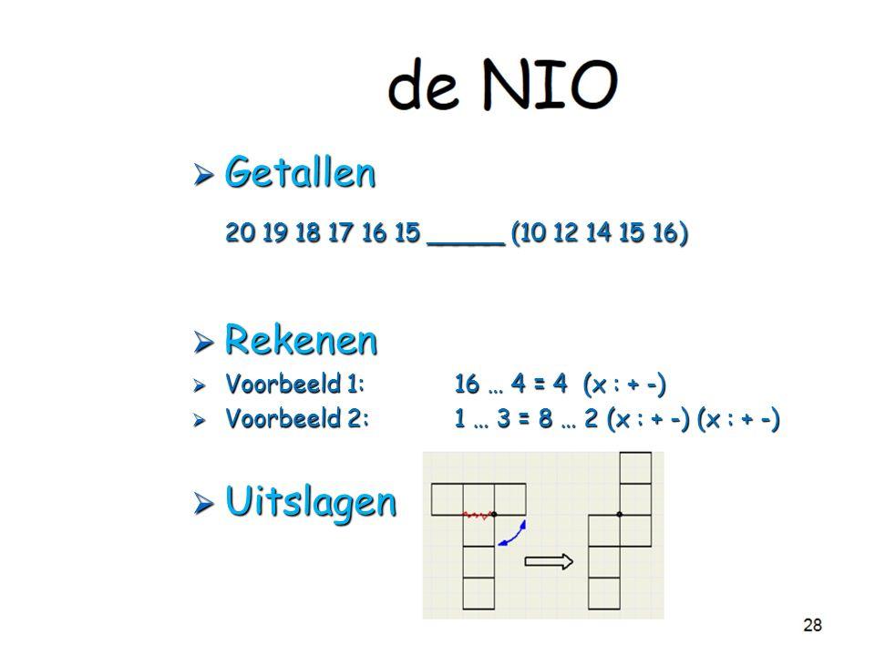  Getallen 20 19 18 17 16 15 _____ (10 12 14 15 16)  Rekenen  Voorbeeld 1: 16 … 4 = 4 (x : + -)  Voorbeeld 2:1 … 3 = 8 … 2 (x : + -) (x : + -)  Uitslagen