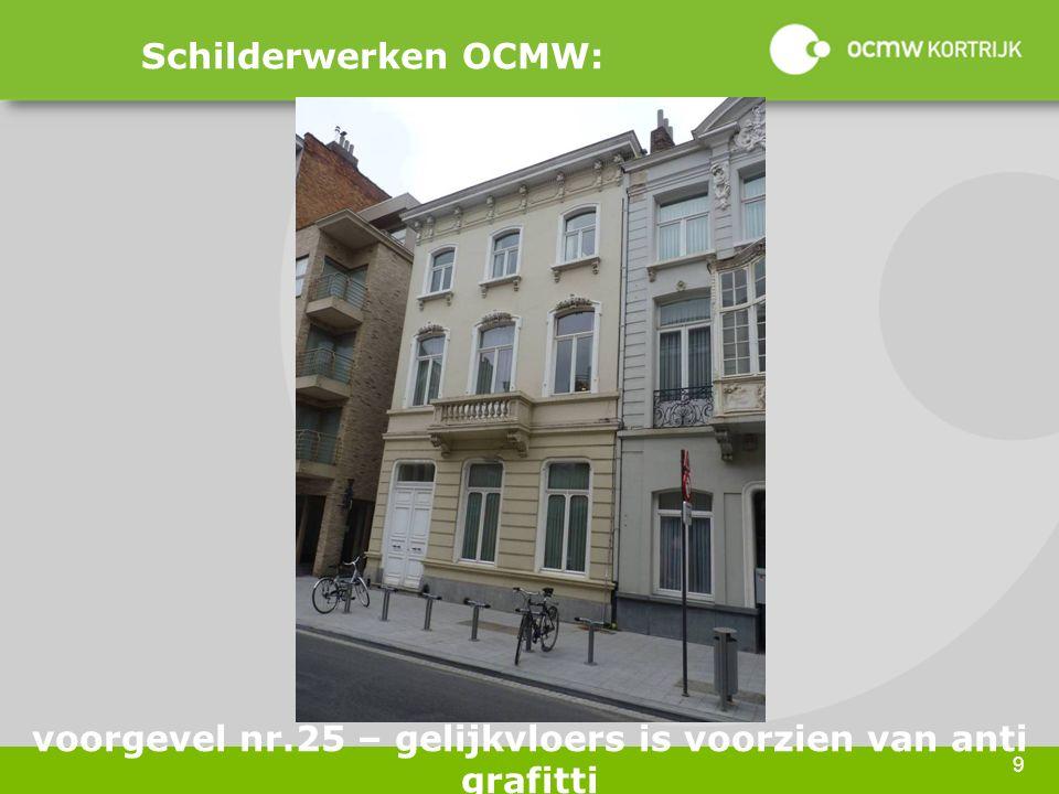 9 Schilderwerken OCMW: voorgevel nr.25 – gelijkvloers is voorzien van anti grafitti
