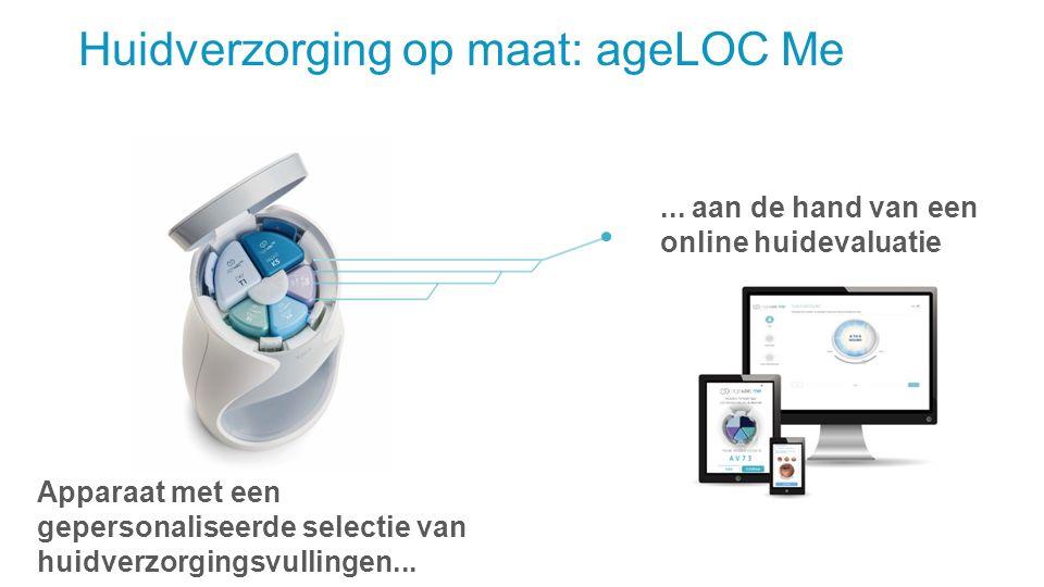 Huidverzorging op maat: ageLOC Me Apparaat met een gepersonaliseerde selectie van huidverzorgingsvullingen...... aan de hand van een online huidevalua