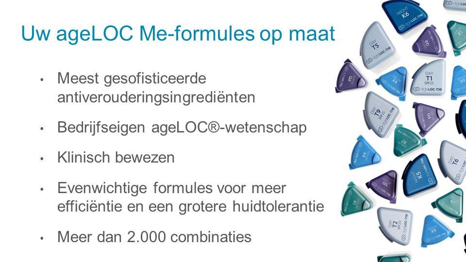 Uw ageLOC Me-formules op maat Meest gesofisticeerde antiverouderingsingrediënten Bedrijfseigen ageLOC®-wetenschap Klinisch bewezen Evenwichtige formules voor meer efficiëntie en een grotere huidtolerantie Meer dan 2.000 combinaties
