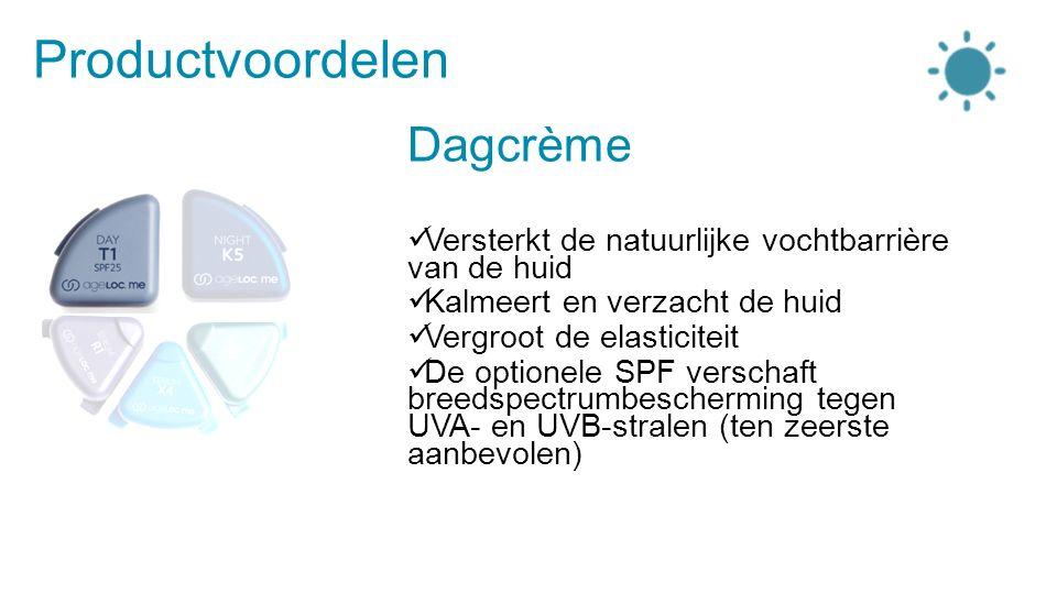 Productvoordelen Dagcrème Versterkt de natuurlijke vochtbarrière van de huid Kalmeert en verzacht de huid Vergroot de elasticiteit De optionele SPF verschaft breedspectrumbescherming tegen UVA- en UVB-stralen (ten zeerste aanbevolen)