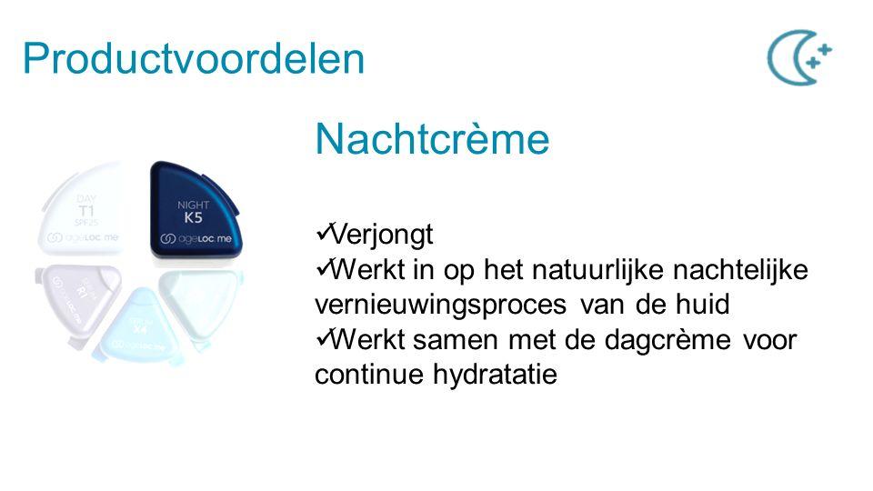 Productvoordelen Nachtcrème Verjongt Werkt in op het natuurlijke nachtelijke vernieuwingsproces van de huid Werkt samen met de dagcrème voor continue hydratatie