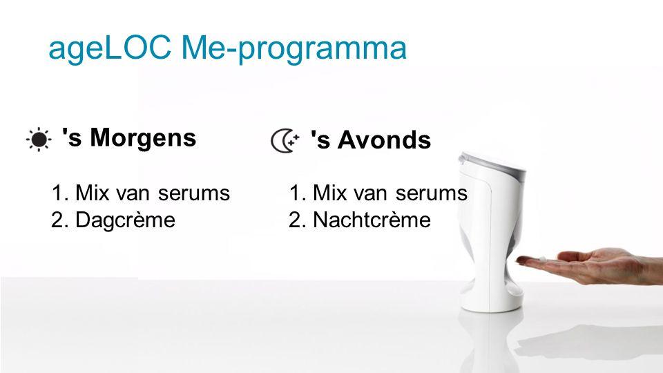 ageLOC Me-programma s Morgens s Avonds 1. Mix van serums 2.