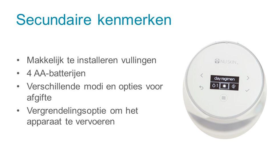Makkelijk te installeren vullingen 4 AA-batterijen Verschillende modi en opties voor afgifte Vergrendelingsoptie om het apparaat te vervoeren Secundai