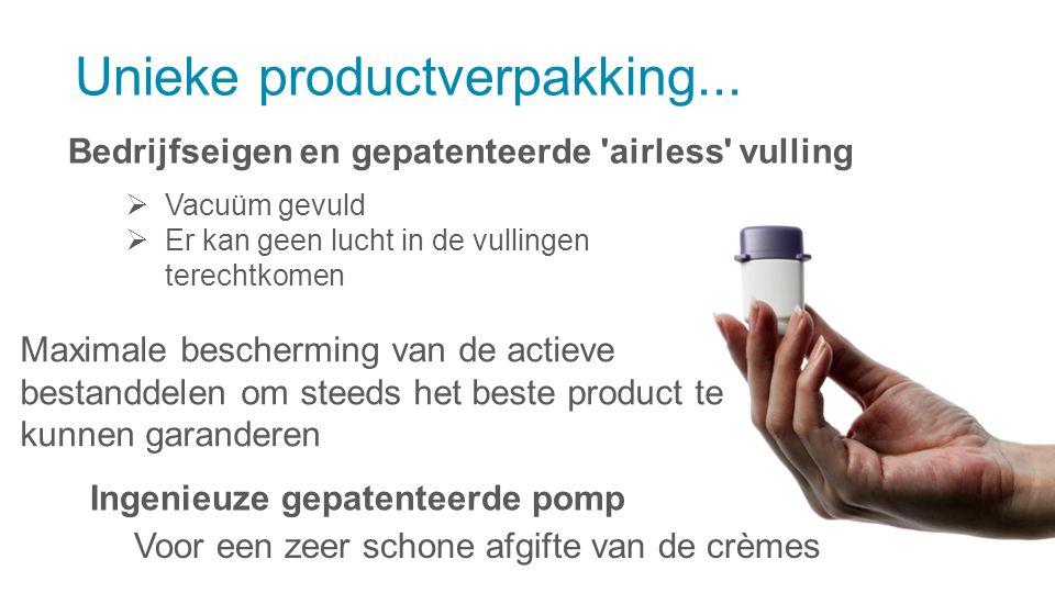 Bedrijfseigen en gepatenteerde 'airless' vulling Unieke productverpakking...  Vacuüm gevuld  Er kan geen lucht in de vullingen terechtkomen Maximale