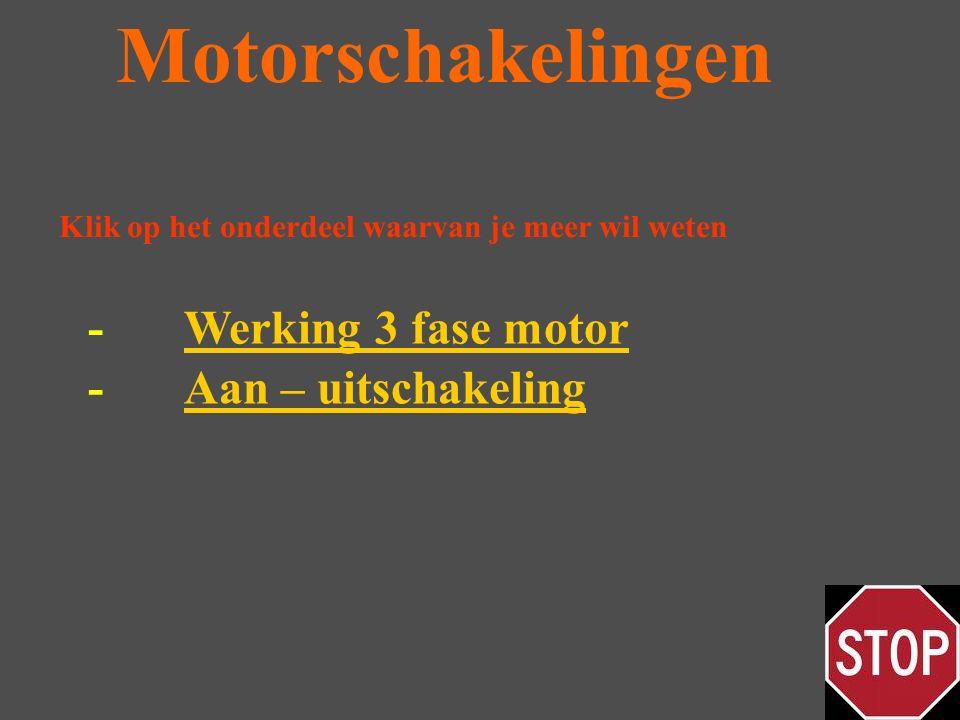 Motorschakelingen Klik op het onderdeel waarvan je meer wil weten -Aan – uitschakelingAan – uitschakeling -Werking 3 fase motorWerking 3 fase motor