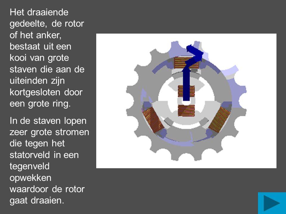 Het draaiende gedeelte, de rotor of het anker, bestaat uit een kooi van grote staven die aan de uiteinden zijn kortgesloten door een grote ring. In de
